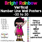 VERTICAL Number Line Ladder Wall Posters - Rainbow Bright (0-10 to 0-30)