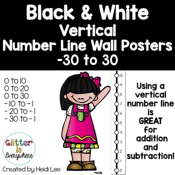 VERTICAL Number Line Ladder Posters - Tuxedo Black and White (0-10 to 0-30)