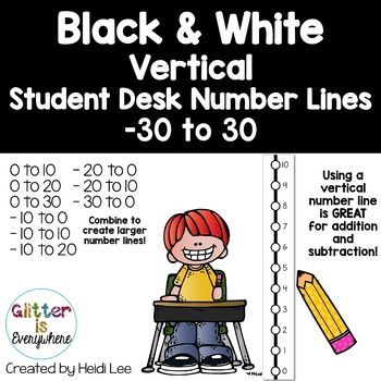 VERTICAL Student Desk Number Line Ladders – Tuxedo Black & White (0-10 to 0-30)