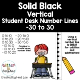 VERTICAL Student Desk Number Line Ladders – Solid Black (0-10 to 0-30)