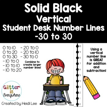 VERTICAL Student Desk Number Line Ladders – Solid Black (0