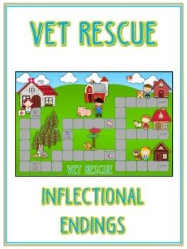 VET RESCUE Inflectional Word Endings - ELA First Grade Game - Word Work Center