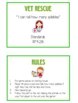VET RESCUE Syllables - ELA First Grade Folder Game - Word Work Center
