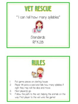 VET RESCUE Syllables - ELA First Grade Folder Game - Word Work Center