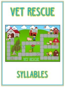 VET RESCUE Syllables - ELA First Grade Folder Game - Word