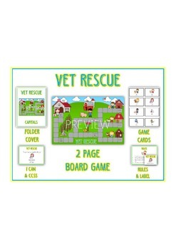 VET RESCUE Vowels- ELA First Grade Folder Game - Word Work Center