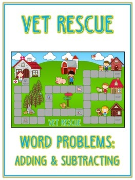 VET RESCUE - Word Problems Adding & Subtracting - Math Folder Game