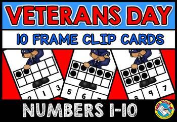 VETERANS DAY ACTIVITIES (TEN FRAMES CLIP CARDS) PRE K 10 FRAMES CENTER