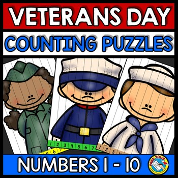 VETERANS DAY ACTIVITY KINDERGARTEN (COUNTING TO 10 PUZZLES NOVEMBER MATH CENTER
