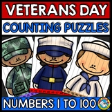 VETERANS DAY ACTIVITY KINDERGARTEN (COUNTING TO 100 PUZZLES NOVEMBER MATH CENTER