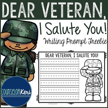 Veterans Day Writing Prompt - Elementary School - School Counseling