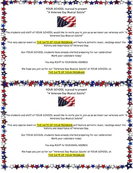 VETERANS DAY PROGRAM INVITATION (HALF SHEET)