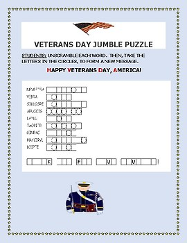 VETERANS DAY WORD JUMBLE PUZZLE