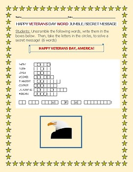 VETERANS DAY WORD JUMBLE/ WITH SECRET MESSAGE