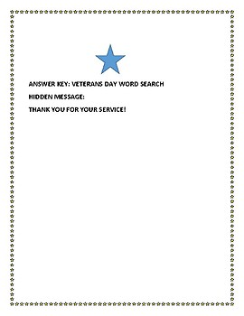 VETERANS DAY WORD SEARCH WITH HIDDEN MESSAGE