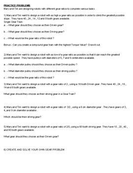 VEX Practice Gear Ratios Worksheet