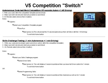 VEX V5 Quick Reference