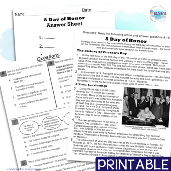 Veterans Day Reading Comprehension - Informational Text * Questions * Foldable