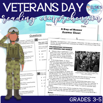 Veterans Day Reading Passage with Comprehension Assessment and Craft