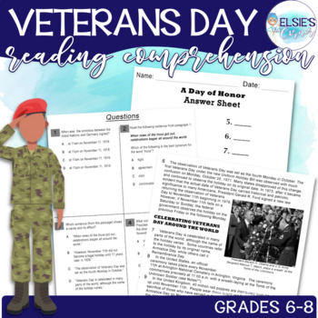 Veterans Day Reading Comprehension - Informational Text - grades 6-8