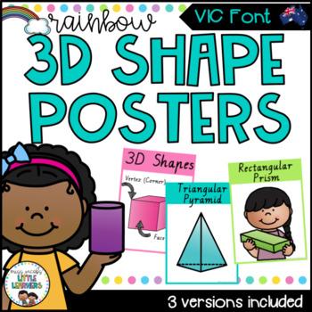 VIC Font 3D Shape Posters {Rainbow Theme}