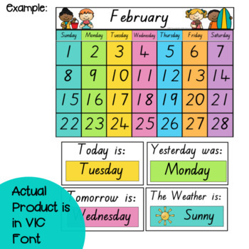 VIC Font Classroom Calendar and Weather Display {Rainbow Classroom Decor}