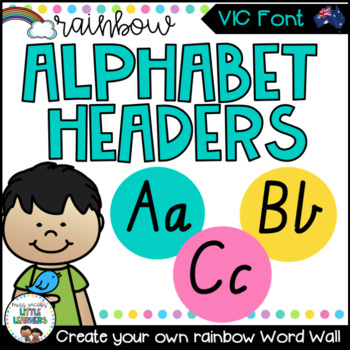 VIC Font Font Word Wall Alphabet Headers {Rainbow Theme}