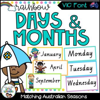 VIC Font Months & Days Labels {Rainbow Theme}