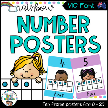 VIC Font Number Posters {Rainbow Theme}