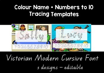 VIC MODERN CURSIVE  colour name + numbers to 10 tracing templates EDITABLE