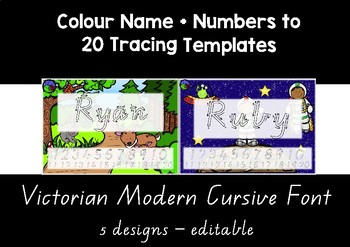 VIC MODERN CURSIVE  colour name + numbers to 20 tracing templates EDITABLE