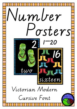 VIC MOd CURSIVE FONT watercolour NUMBER POSTERS ~ 1 to 20