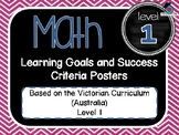 VICTORIAN CURRICULUM AU - Level 1 All MATH Learning Goals & Success Criteria!