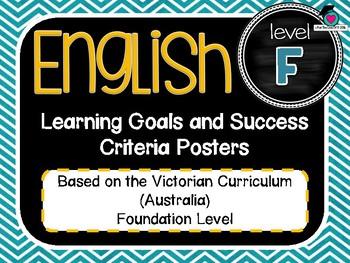 VICTORIAN CURRICULUM - Foundation All English Learning Goals & Success Criteria!