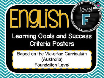 VICTORIAN CURRICULUM - Foundation All English Learning Goals & Success Criteria!