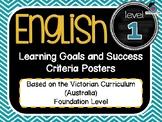 VICTORIAN CURRICULUM - Gr Level 1 All English Learning Goals & Success Criteria!