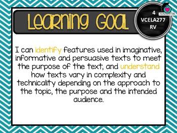 VICTORIAN CURRICULUM - Gr Level 4 All English Learning Goals & Success Criteria!