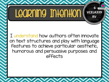VICTORIAN CURRICULUM - Level 6 English Learning INTENTIONS ...