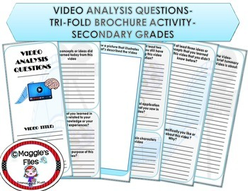 VIDEO ANALYSIS QUESTIONS- TRI-FOLD BROCHURE TEMPLATE ALL SUBJECTS CCSS