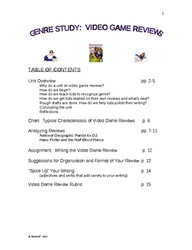 VIDEO GAME REVIEWS:  A Genre Study