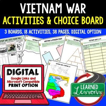 US History VIETNAM WAR Activities Choice Board, Digital, Google