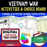 VIETNAM WAR Activities, Vietnam War Choice Board, Digital, Google