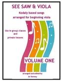 VIOLA VIOLA!! SEE SAW & VIOLA - VOLUME ONE  for beginning viola