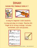 VIOLIN  DINAH - Pre-Twinkle Song #7 for beginning violin students