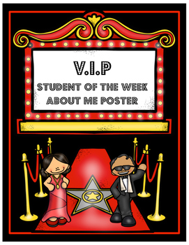 VIP All About Me Poster for Student of the Week