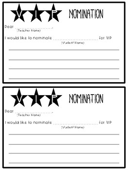 VIP Nominations *FREEBIE*