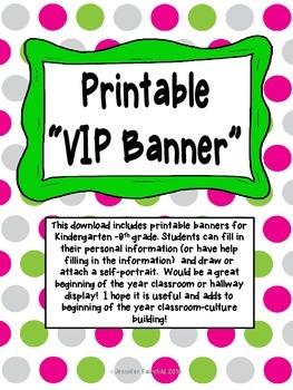VIP Student Banner Printable