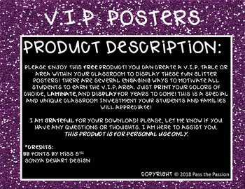 VIP Table Display Posters-Positive Classroom Management (5 Glitter Colors-FREE)