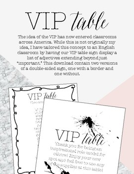 VIP Table Sign