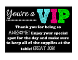 VIP Table Sign FREEBIE